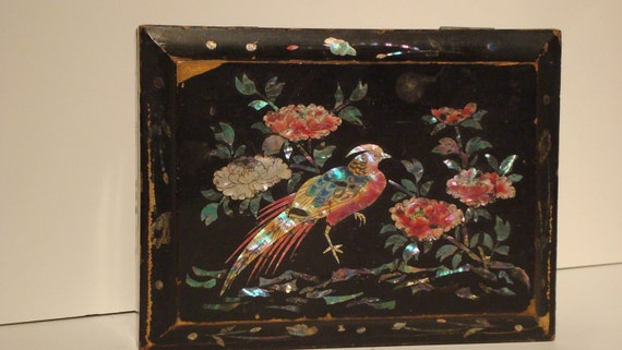 Vintage Jewelery Box Black Lacquer Bird and Floral inlay