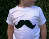 Handmade Mustache Applique...Baby, Toddler and Kids Hand Sewn Shirt...Sizes 3-6 Months, 6-12 Months, 12-18 Months, 18-24 Months, 2T, 4T, 6T, 8, 10, 12
