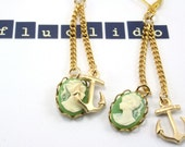 Anchor and green Cameo Earrings