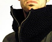 Men's cowl with zipper. The Comstock Cowl in Black