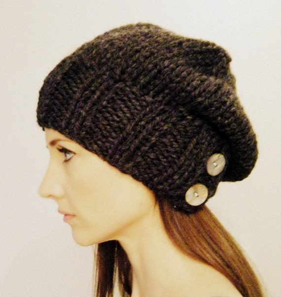 Slouchy Hat Warm Winter Beanie with Buttons / THE SALT CITY / Stone Quarry