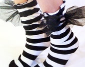 Nightmare before Christmas Sally Costume Socks for WOMEN Striped Black & White  with bat wing bows
