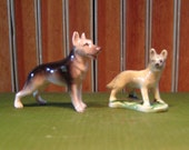Vintage German Shepherd Dog Figurine Miniature - set of 2
