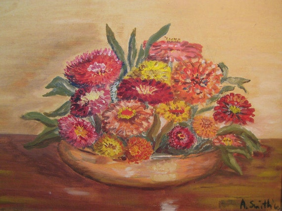 Vintage Painting Zinnias Colorful Handpainted