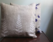 White Fern. Natural Linen Pillow Cover. Hand Screen Printed.