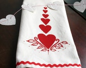 Folk Hearts. Valentine's Day. Wedding Gift. Tea Towel.  Vintage Stripes.