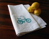 Blue Banana Bike. Tea Towel. Hand Screen-Printed. Eco Friendly.