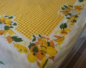 Vintage Tablecloth Bright Cheery Colors w Checks