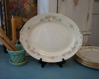 Vintage 1940s Homer Laughlin Countess Platter 1949 Georgian Eggshell Pink Roses