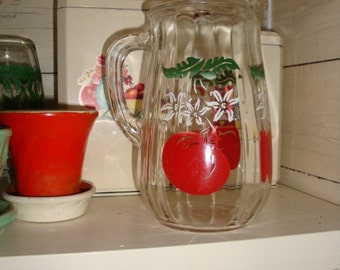 Adorable Vintage Juice or Water Pitcher with Chubby Red Tomatoes 1940s
