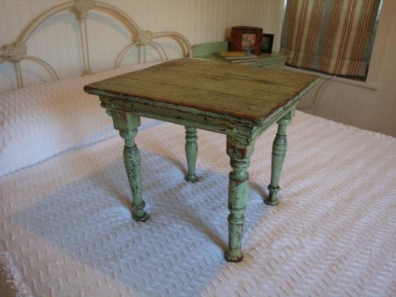 Vintage Side Table Darling Turned Legs Original Old Jadite Green Paint 1940s