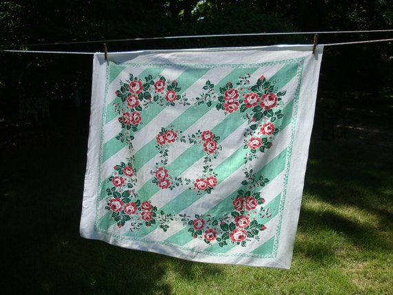 Vintage Tablecloth Mint Awning Stripe w Pink Roses