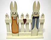 Bunnies on Fence, Handpainted, Home Decor, Wall Art, Shelf Sitter