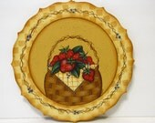 Strawberries in a Basket Plaque, Handpainted Wood, Home Decor, Wall Art