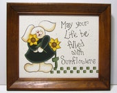 Bunny with Sunflowers Sign, Framed or unFramed, Handpainted, Home Decor Wall Art