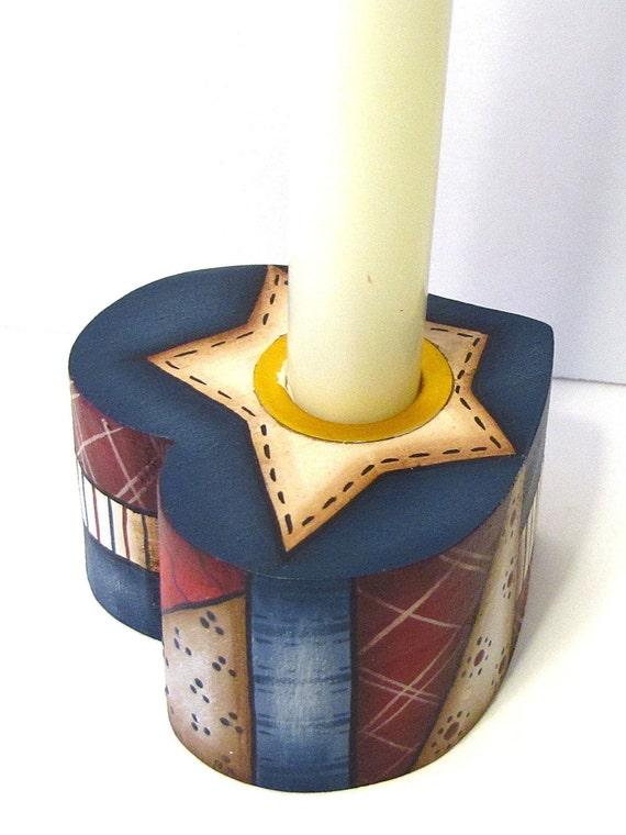 PIF - Pay It Forward, Primitive Heart Shaped Americana CandleHolder, Handpainted, Home Decor, Shelf Sitter
