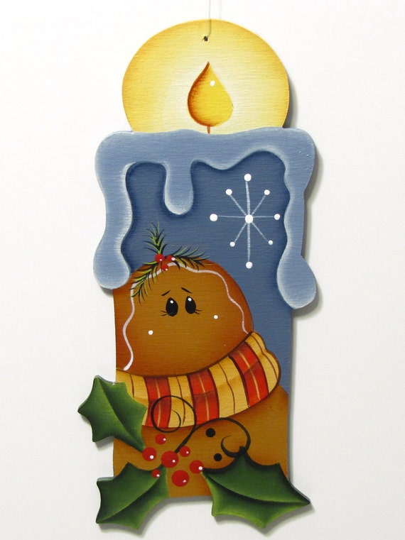 Gingerbread on Candle Shaped Ornament, Handpainted Wood