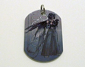 Mysterious Grey Dogtag Necklace AND Keychain