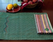 SALE Hand Woven Placemats Emerald Green & White Diamond weave pattern Cotton set of 4