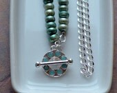 RESERVED Pearl Mint Necklace - Freshwater Pearl, Silver Chain and Accents