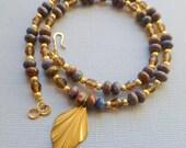 From Afar Necklace - Cobalt Paisley Jasper and Czech Fire Polish