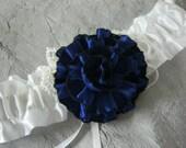 White Garter with Navy Blue Flower