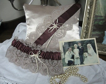 Champagne and Plum Ring Pillow and Garter Set