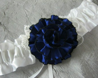 White Garter with Navy Blue Flower