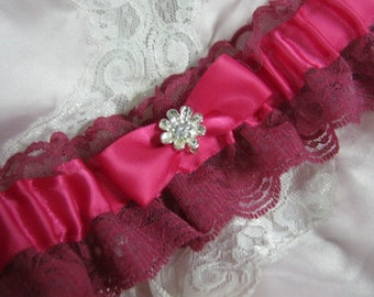 Hot Pink Satin and Lace Garter