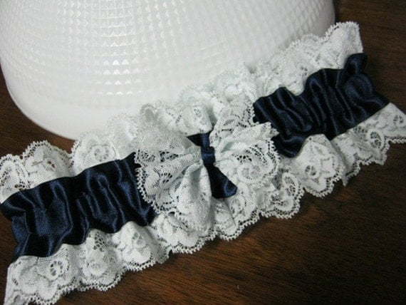 Navy and Pale Teal Blue Lace Garter