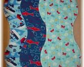 Burp Cloths - Whale Boat Shark - Set of 3