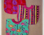 Pull Over Baby / Toddler Bib Set of 3 - Stripes, Flowers, and Flamingo
