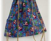 Santa/Reindeer Drawstring Backpack