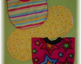 Baby Bib Pullover and Burp Cloth Set - Bright Stars and Stripes