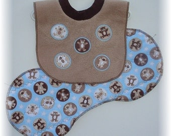 Baby Bib Pullover Brown Fleece with Bear Circle Applique and Baby Burp Cloth Quilted Flannel Bear Print Contoured Burp Cloth Brown and Blue
