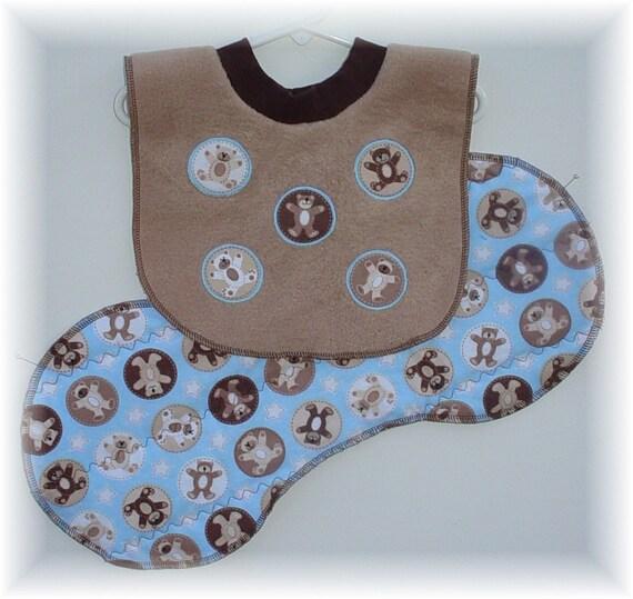 Bib and Burp Cloth Set - Bears