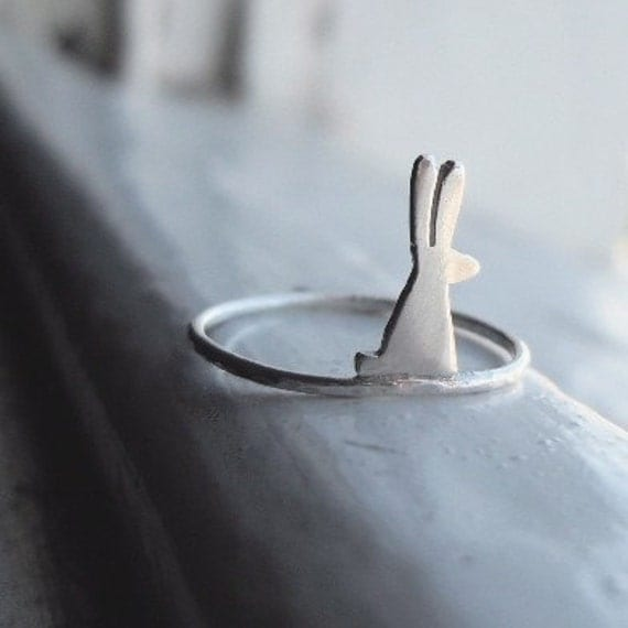 Little Bunny Ring (shiny silver) Made to Order