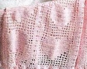 Pink Heart Filet Baby/Toddler Afghan - Made to order