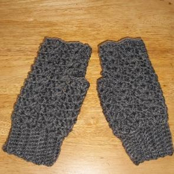 Ladies Lacy Fingerless Gloves - Grey Heather Or Choose Your Color - MADE TO ORDER