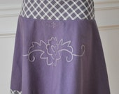 Special Order for Gabriella Lilac  White Plaid Aplique Knee Skirt XS S M L
