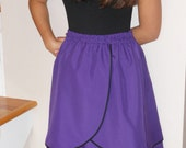 Holiday Sale 50% Off : Purple / Black Trim Two Layers Cotton Knee A-Line Skirt - XS S M