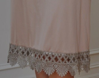 Coffee/Beige Venice Lace Trimmed Slip ( also Available in Ivory )  - XS S M L XL XXL