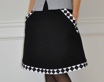 Black Cotton / Black White Check Twill Pockets A-Line Skirt S, M, L