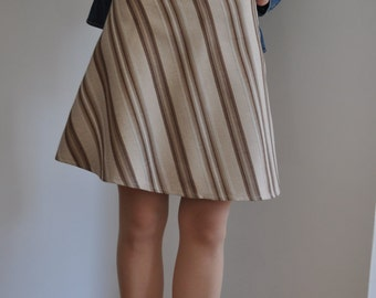 Holiday Sale 50% Off : Brown Beige Striped Cotton Blend A-Line  Knee Skirt XS S M