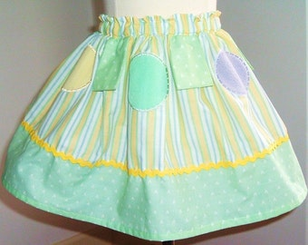 SALE- Soft Green White Yellow Stripes Aplique Ruffle Skirt Cotton Print Available in size  3T 4T 5 6 7
