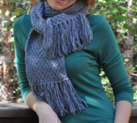 ON SALE Soft Wool Blend Gray Scarf