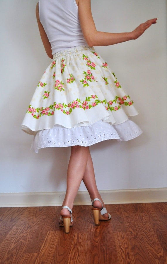 White 50's Cotton Tiered Knee Underskirt  Petticoat  Slip, Scalloped Eyelet Ruffle Trim.  Wedding. Bridesmaid - XS S M L XL XXL