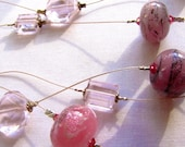 Floating triple strand necklace,  Handmade beaded necklace,  Soft pink and rose hues, Vintage Recycle