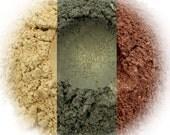 Camouflage Eyeshadow Trio - Champagne, Olive, Chocolate Satin