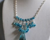 Swiss blue crystal  briolette and natural blue shaded zircon necklace